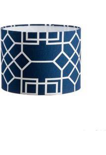 Cúpula De Abajur Trama 24X17Cm Azul E Branco Ls Ilumina