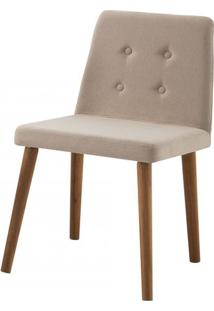 Cadeira Flan Bege Base Castanho - 50662 - Sun House
