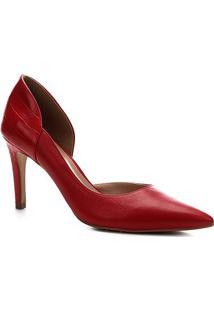 Scarpin Shoestock Couro Croco Salto Alto - Feminino-Vermelho