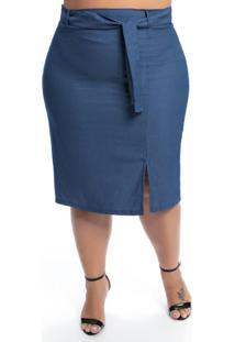 Saia Plus Size Azul Com Faixa E Fenda Na Frente