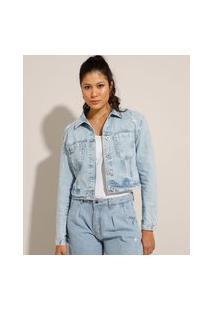 Jaqueta Cropped Jeans Marmorizada Com Bolsos E Rasgos Azul Claro
