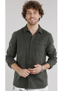 Camisa Masculina Em Flanela Botonê Com Bolso Manga Longa Verde Militar
