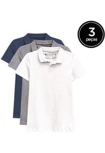 Kit De 3 Camisas Polo De Várias Cores Feminino - Feminino-Branco+Azul Petróleo