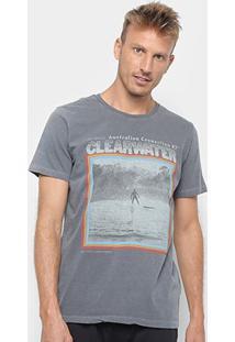 Camiseta Redley Tinturada Silk Clear Water Masculina - Masculino-Chumbo