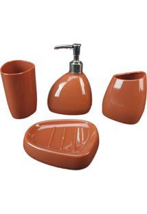 Kit Saboneteira 3 Peças Banheiro Lavatório Escova Saboneteira Liquido - Marrom