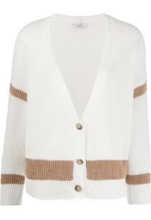 Peserico Knitted Striped Cardigan - Branco
