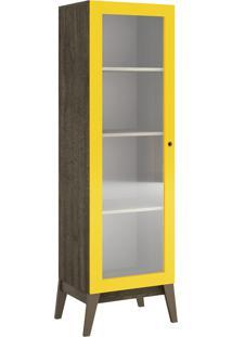 Cristaleira 1 Porta Demolição-Fosco Com Amarelo-Brilho Genialflex Móveis