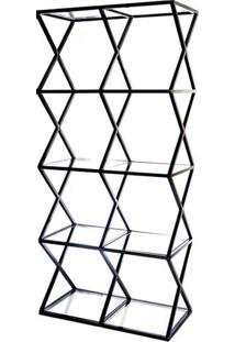 Estante Louvre Com Vidro Estrutura Em Tubo Cor Preto - 53545 Sun House