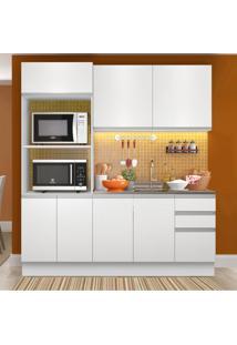 Cozinha Compacta Madesa 100% Mdf Acordes Glamy 8 Portas Branco Brilho Branco