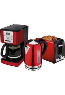 Kit Red Flavor Cafeteira - Chaleira - Torradeira Oster - 127V