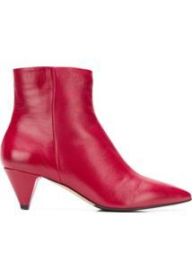 The Seller Ankle Boot Bico Fino De Couro - Vermelho