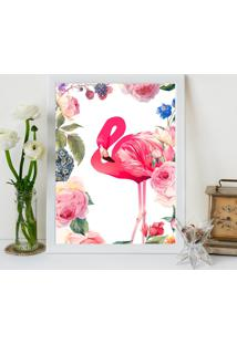 Quadro Decorativo Com Moldura Flamingo Flowers