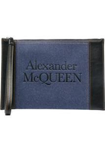 Alexander Mcqueen Logo-Print Zipped Clutch - Azul