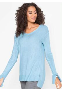 Suéter De Tricô Básico Azul Claro