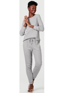 Pijama Feminino Longo Em Malha De Algodão