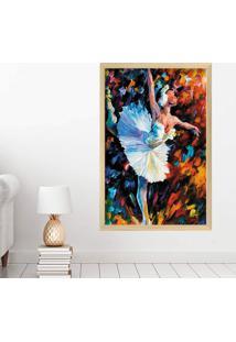 Quadro Love Decor Com Moldura Bailarina Madeira Clara Grande - Multicolorido - Dafiti