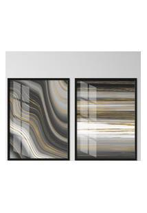 Quadro 65X90Cm Abstrato Atlanta Moldura Preta Sem Vidro Decorativo Interiores