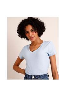 Camiseta Flamê De Algodão Básica Manga Curta Decote V Azul Claro 3