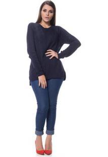 Blusa Logan Tricot Trabalhada Despojada Raio - Feminino-Azul Escuro