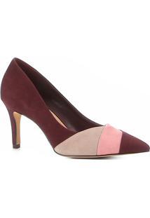 Scarpin Shoestock Salto Médio Nobuck Recortes - Feminino-Vinho