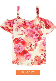 Blusa Bege Ciganinha Florale