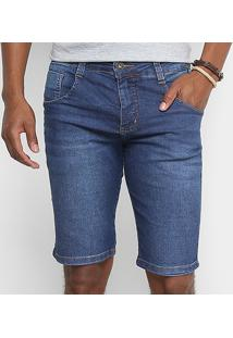 Bermuda Jeans Biotipo Soft Com Elastano Masculina - Masculino-Azul