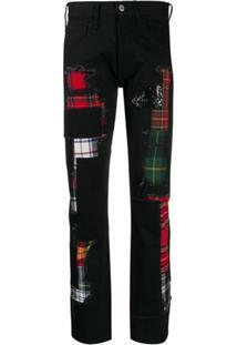 Junya Watanabe Calça Jeans Xadrez Com Detalhes Rasgados - Preto