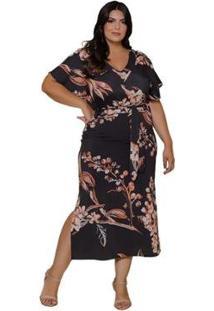 Vestido Plus Size Sinopzzi Midi Seda Floral Decote V Feminino - Feminino-Preto