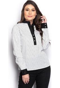Camisa Camisete Feminina Listrada Manga Longa Casual - Feminino-Branco+Preto