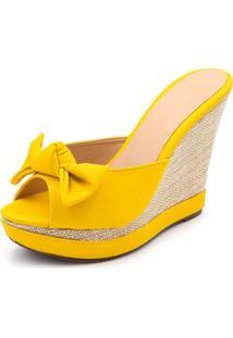 Sandália Anabela Tamanco Salto Alto Amarelo