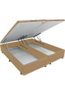 Cama Box King Bipartido Bau Frontal Pistão Corano Bege - 193X203