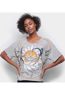 Camiseta Forum Básica Estampada Feminina - Feminino-Mescla