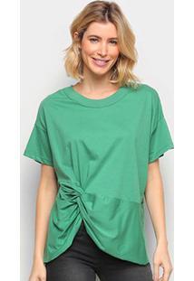 Camiseta Colcci Básica Assimétrica Feminina - Feminino-Verde