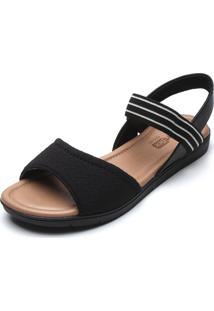 Sandália Comfortflex Listrada Preto