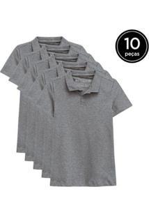 Kit 10 Camisas Polo Basicamente Feminino - Feminino-Cinza
