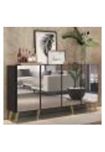Aparador Buffet 4 Portas C/ Espelho E Pés Retrô Vegas Multimóveis Preto/Natural