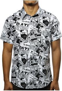 Camisa Camaleão Urbano Jornal Branca