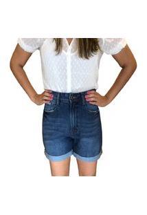 Bermuda Barra Virada Multi Ponto Denim Jeans