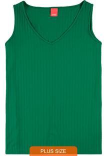 Blusa Verde Decote V Canelada