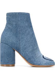 Mm6 Maison Margiela Ankle Boot Com Detalhe De Logo Contrastante - Azul
