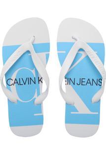 Chinelo Calvin Klein Logo Branco