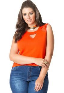 Blusa Plus Size Laranja Decotada Detalhe Vazado
