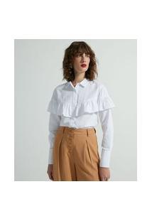 Camisa Alongada Em Tricoline Com Babado | Cortelle | Branco | G