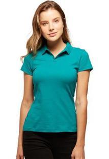 Camisa Polo Basicamente Tradidiconal Feminina - Feminino-Verde