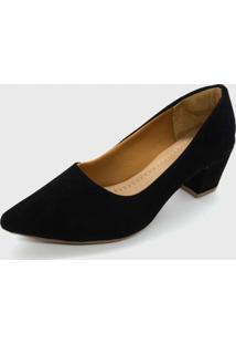 Sapato Feminino Scarpin Bico Fino Salto Bloco Baixo Preto - Kanui