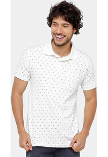 Camisa Polo Tigs Mini Print Bolso Masculina - Masculino-Off White