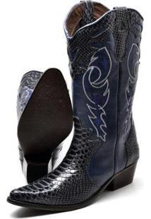Bota Country Texana Click Calcados Montaria Couro Cano Longo Bico Fino Feminina - Feminino-Azul Petróleo