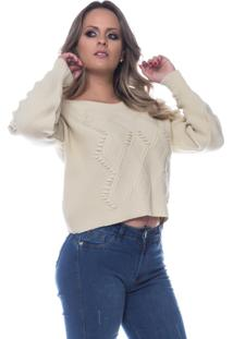 Blusa Look Lovers Mousse Aran Pipoca Bege.