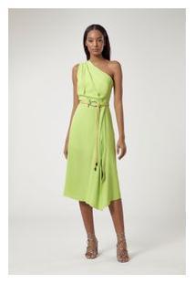 Vestido De Crepe Um Ombro Drapeado Verde Neon Flash