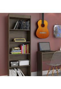 Estante Para Livros 4 Prateleiras Atualle Móveis Mocaccino Rústico